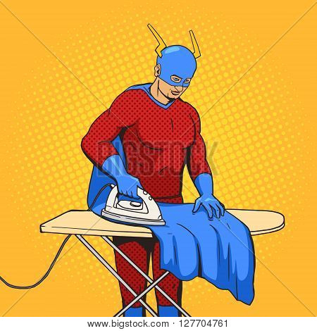 Superhero iron mantle cartoon pop art vector illustration. Human vintage retro style.