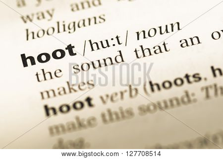 Close Up Of Old English Dictionary Page With Word Hoot.
