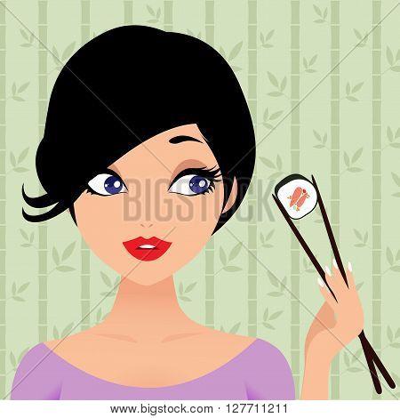 Beautiful girl enjoy sushi. Vector cartoon illustration
