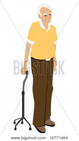 Senior man using a quad cane