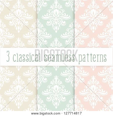 Vector set of classical delicate seamless patterns in pastel colors: pink green and yellow. Background for greeting cards and wedding invitations.