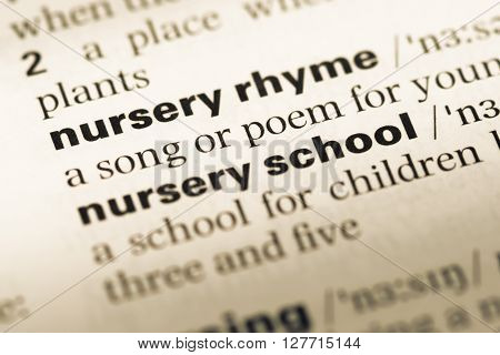 Close Up Of Old English Dictionary Page With Word Nursery Rhyme.