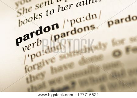 Close Up Of Old English Dictionary Page With Word Pardon.