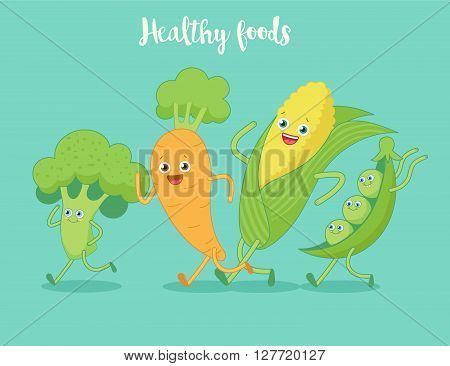 Vegetables fun run. Funny cartoon character. Vector illustration. Isolated on white background. Set of vegetables characters.