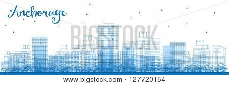 Outline Anchorage (Alaska) Skyline with Blue Buildings. Vector Illustration. Business and tourism concept with place for text. Image for presentation, banner, placard and web site