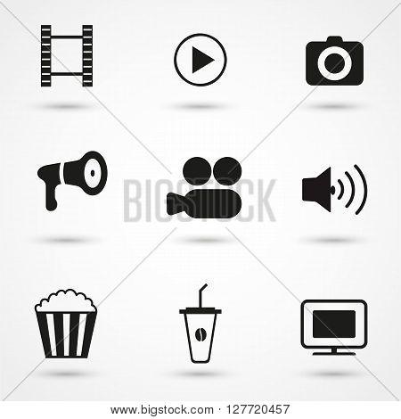 Movie Icons black set, movie, film, entertainment, cinema, camera.