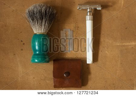 Flat Lay Of Shaving Equipment On Wooden Table And Vintage Background