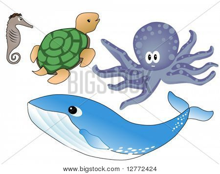 Sea Animals - Vector