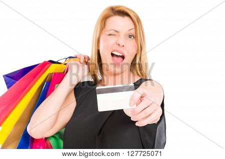 Shopping Woman Holding Credit Card And Wink