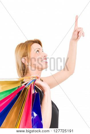 Shopping Woman Pointing Finger Up