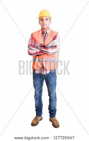 Builder or engineer standing isolated on white background