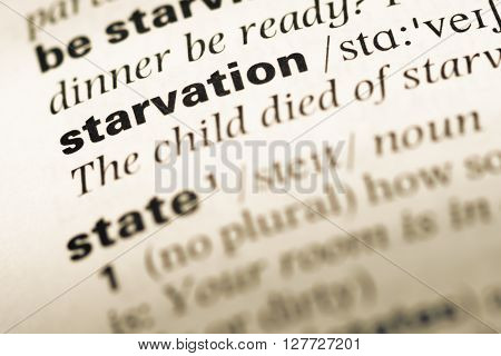 Close Up Of Old English Dictionary Page With Word Starvation.