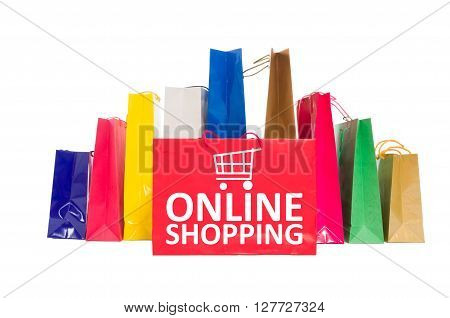 Online shopping concept using shopping bags isolated on white background