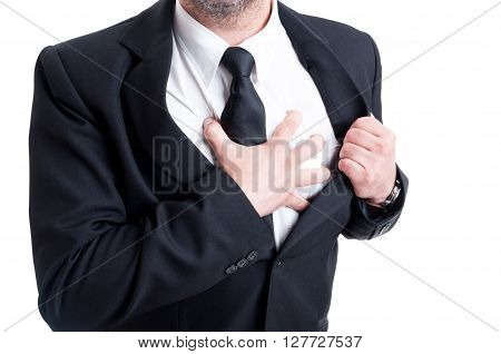 Elegant Man Having Chest Pain And Heart Attack