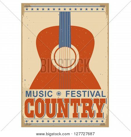 Country Music Festival Background With Text.vector Old Poster With Acoustic Guitar