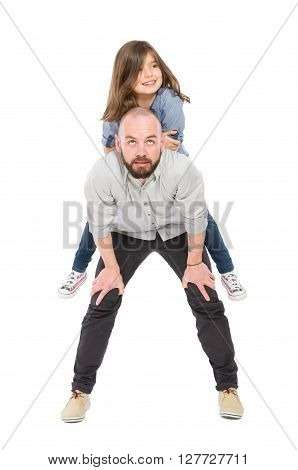 Young father or stepfather and daughter isolated on white background