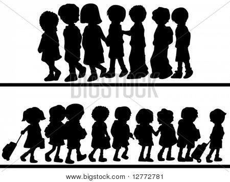 Children Walking - Vector Silhouette