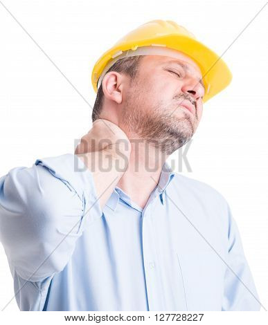 Back neck pain gesture by tired and exhausted architect or engineer