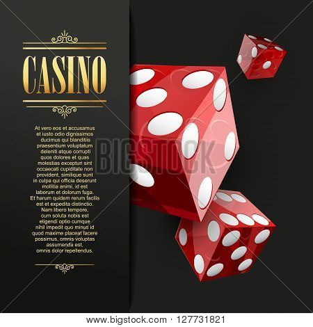 Casino background. Vector Poker illustration. Gambling template. Casino design with red dice. Four aces. Casino banner. Casino logo. Casino flyer. Vector casino gambling illustration.