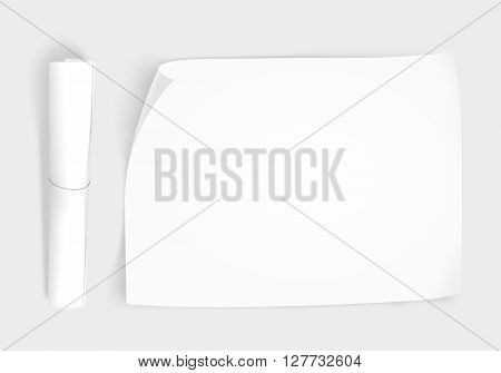 Blank whatman paper mockup with roll, top view isolated, 3d illustration. Creative background plain paper sheet mock up. Design portfolio presentation template show. Draft brochure layout. Project paper from above