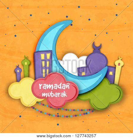 Creative blue paper Crescent Moon with Mosque on colourful clouds for Holy Month of Muslim Community, Ramadan Mubarak celebration.