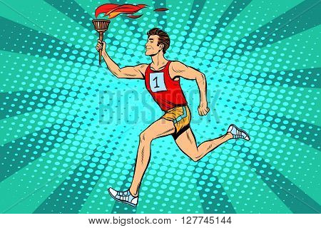 The man athlete torchbearer sports fire. Torch relay. Summer sports games. Vector athlete. pop art retro style