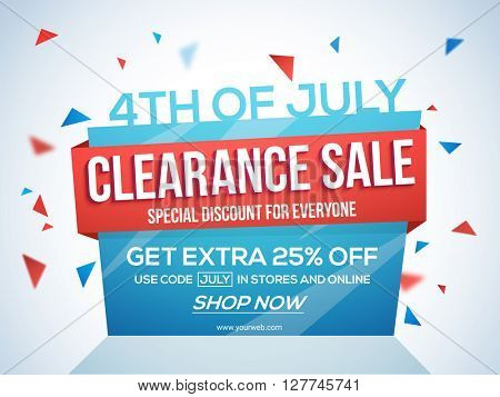 4th of July Sale Tag, Clearance Sale Paper Banner, Sale Flyer, Special Discount Offer, 25% Off. Vector illustration for American Independence Day celebration.