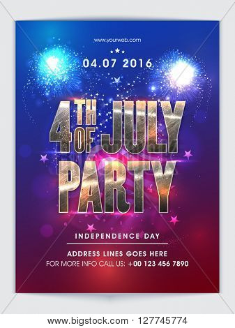 Creative glossy text 4th of July Party on waving flag, Elegant shiny Pamphlet, Banner, Flyer or Invitation for American Independence Day Party celebration.