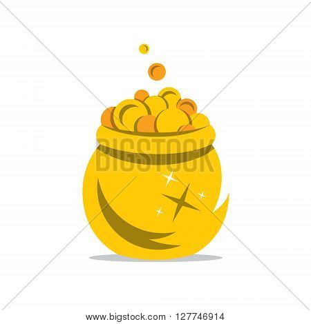 Coins spilling the golden Pot Isolated on a White Background