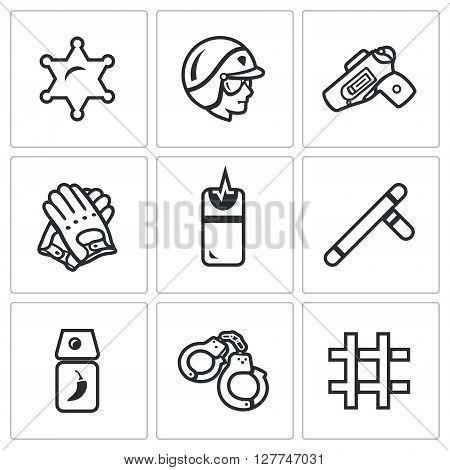 Badge, Man, Gun, Gloves, Taser, Baton, Tear Gas, Handcuffs, Prison