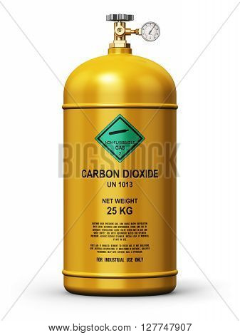 3D render illustration of yellow metal steel liquefied compressed natural carbon dioxide gas container or cylinder with high pressure gauge meter and valve isolated on white background