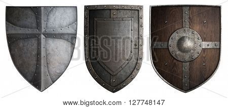 various crusaders knights shields set isolated 3d illustration