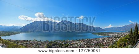 Panorama of Lake Maggiore in Ticino, Switzerland