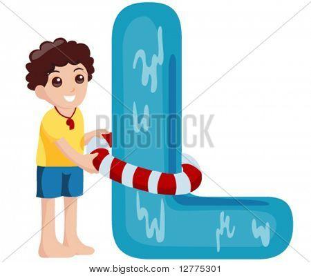 Alphabet Kids (Life Guard) - Vector
