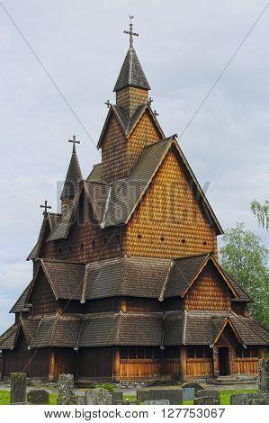 Heddal Stave Church in Telemark, Norway, summer