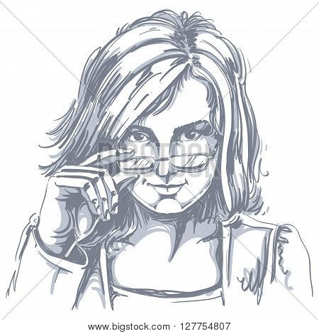 Vector drawing of sexy business woman with stylish haircut and eyeglasses. Black and white portrait of attractive smart flirting lady.