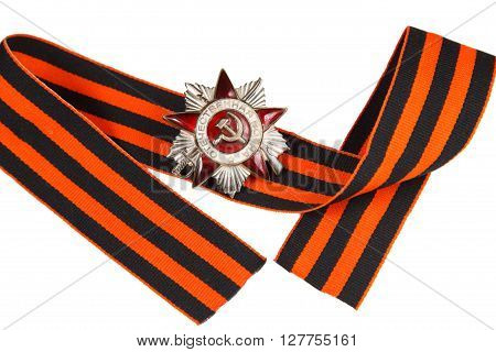 Soviet Order Of The Great Patriotic War At The St. George Ribbon. Symbol Of Russia's Victory In Worl
