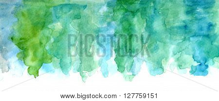 Abstract artistic background texture with watercolor stains of teal blue and green paint
