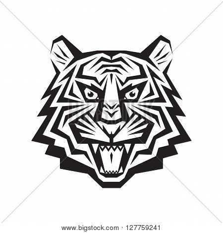 Tiger head - vector logo concept illustration in classic graphic style. Tiger head silhouette sign. Tiger head tattoo. Bengal tiger head creative illustration. Black & white. Jaws mouth grin shops.
