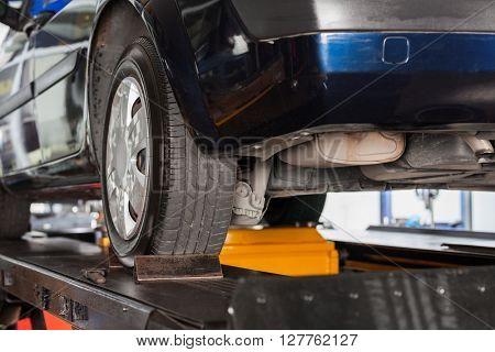 Car On Hydraulic Lift