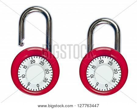 Red combination locks.  One unlocked and one locked.  Isolated on white.
