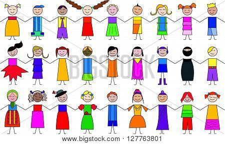 lots of children cartoon drawings, vector art work