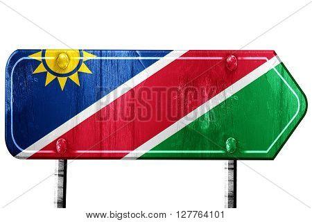 Namibian flag, 3D rendering, vintage road sign isolation