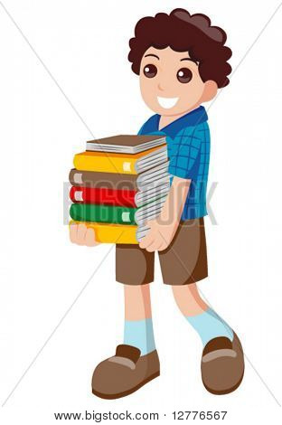Carrying Books - Vector
