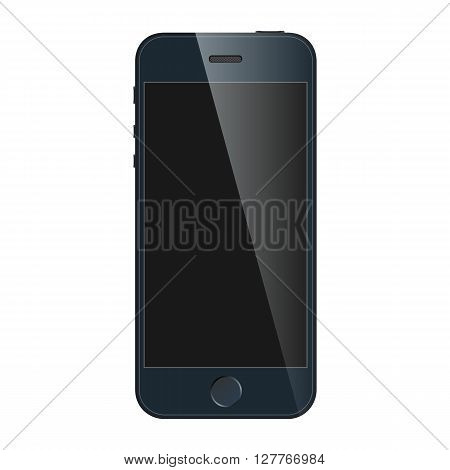 Realistic blue mobile phone with blank screen isolated on white background. Modern concept smartphone device with digital display. Vector illustration mockup EPS 10.