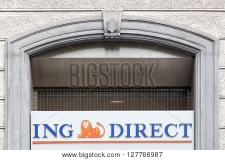 Milan, Italy - April 13, 2016: ING Direct sign on a facade. The ING Group is a Dutch multinational banking and financial services corporation headquartered in Amsterdam