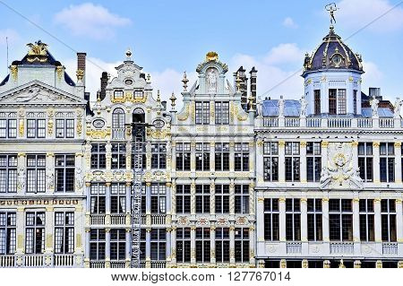 BRUSSELS BELGIUM - MARCH 16: Renovated facades of old buildings in Grand Place on March 16 2016 in Brussels.