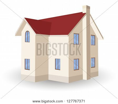 Two storey house with shadow, vector illustration isolated on white