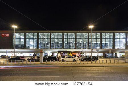 Facade Of Westbahnhof In Vienna By Night