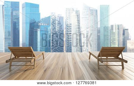 Two chaise longues on wooden ground with Singapore view. 3D Rendering